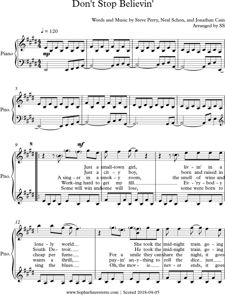 Don't Stop Believin' - Piano_0001 - Sheet Music